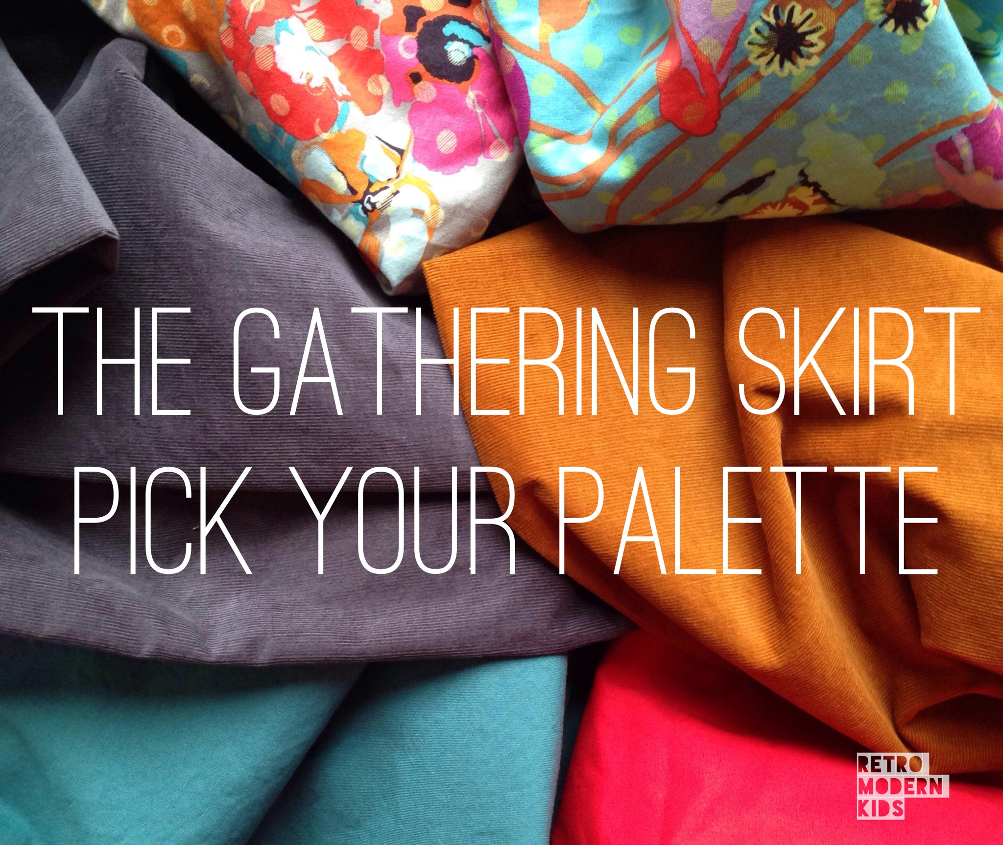 retro modern kids gathering skirt pick your palette corduroy gray camel warm cool anna maria horner raindrops on poppies