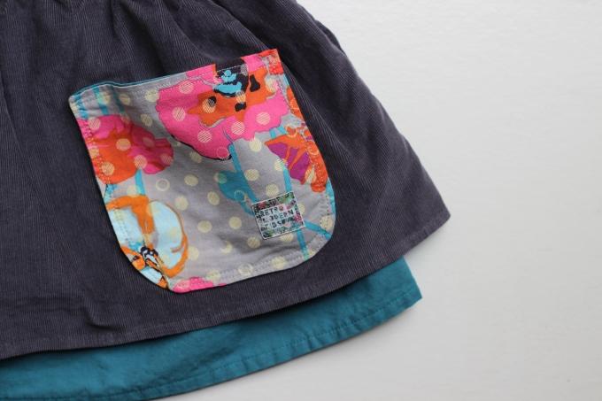 Retro Modern Kids Gathering Skirt Pocket